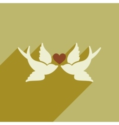 Flat web icon with long shadow birds heart vector image