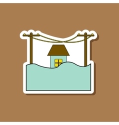 Paper sticker on stylish background flood house vector