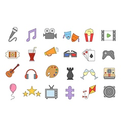 Set of entertainment colorful icons vector