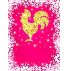 Golden glitter rooster on christmas background vector