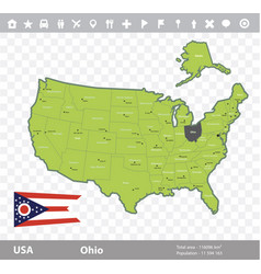Ohio flag and map vector