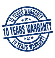 10 years warranty blue round grunge stamp vector
