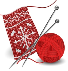 Knitting with needle and yarn ball vector