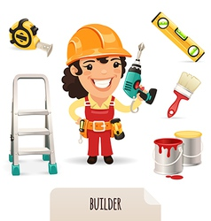 Female builder set vector