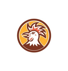 Cockerel rooster head circle retro vector
