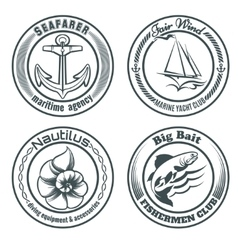 Nautical stamps set vector