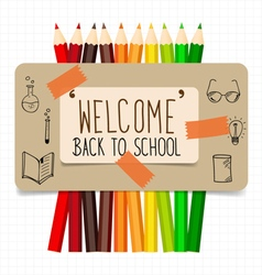 Welcome back to school paper note with color vector