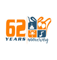 62 year gift box ribbon anniversary vector