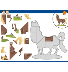 Cartoon horse jigsaw puzzle task vector