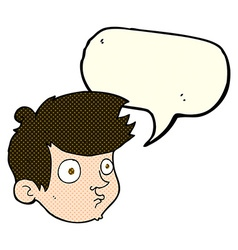 Cartoon staring boy with speech bubble vector