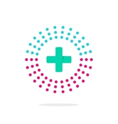Medical logo with green cross and pharmacy vector