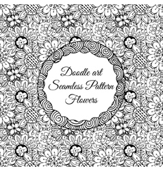 Doodle art abstract seamless pattern with flowers vector