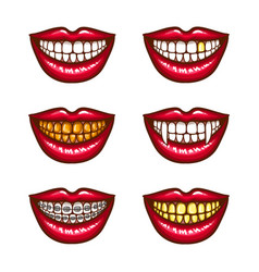 A collection of pop art icons of red female lips - vector