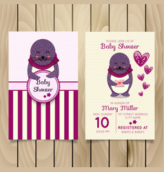 Baby shower invitation template with hand vector