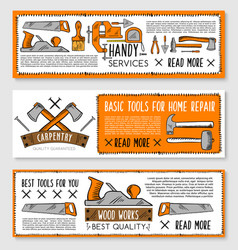 Banners for handy service repair work tools vector