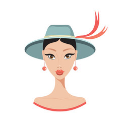 beautiful young asian woman in stylish hat fashion vector image vector image