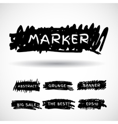 Black markers strokes banner vector