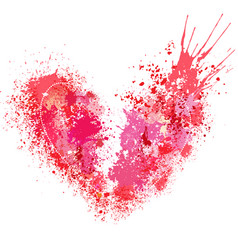broken heart made of spray and drops vector image vector image