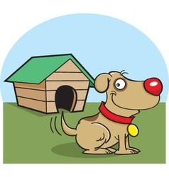 Cartoon Dog with a Dog House vector image vector image