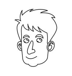 cartoon head man adult male image outline vector image
