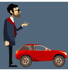 Cartoon man in suit beside a small red suv vector