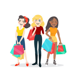 cartoon woman group with shopping bag vector image vector image