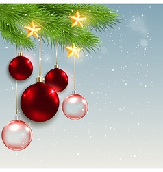 Christmas background with red decorations vector image