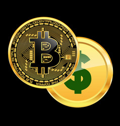 crypto currency bitcoin beats dollar concept vector image