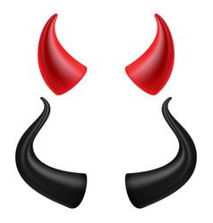 Devils horns realistic red and black devil vector