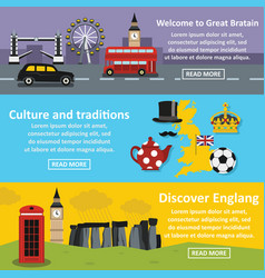 england travel banner horizonatal set flat style vector image vector image