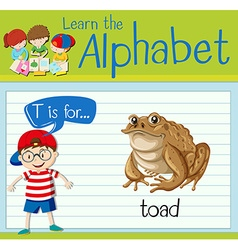 Flashcard alphabet T is for toad vector image