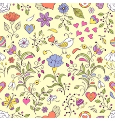 Floral background with bird and flowers vector image vector image