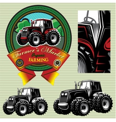 Label with a tractor for livestock and crop vector