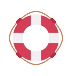 Lifebuoy ring in red and white color vector image