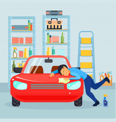Male love his car composition vector
