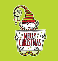 Merry christmas elf holding sign bright green vector