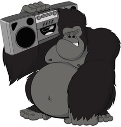 Monkey with a tape recorder vector image