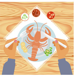Person is eating delicious lobster vector