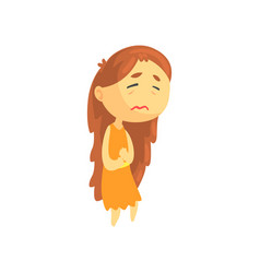 sick girl with long hair suffering from stomach vector image vector image