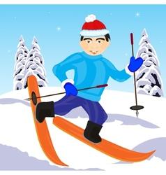 Skier in wood vector