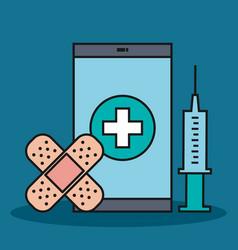 Smartphone syringe and bandage plaster app medical vector