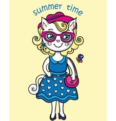 T-shirt graphics with cute lady-cat in summer vector