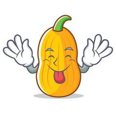 Tongue out butternut squash mascot cartoon vector