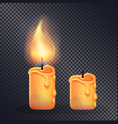 two wax candles on transparent background vector image