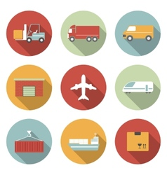Vehicle transport and logistics flat icons vector image vector image