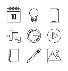 white background with monochrome icons of mobile vector image