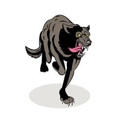 Wild dog wolf attacking running vector