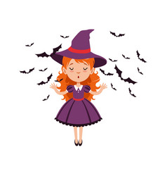 Young red-haired girl witch standing with hands up vector
