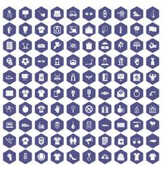 100 t-shirt icons hexagon purple vector