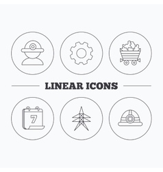 Worker minerals and engineering helm icons vector
